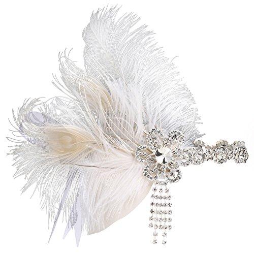 Stirnband 20er Jahre Stil Art Deco Flapper Haarband Great Gatsby Stirnband Damen Kostüm Accessoires (Weiß mit Satin Band) (20er Jahre Flapper Halloween Kostüm)