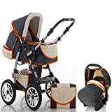 "15 teiliges Qualitäts-Kinderwagenset 3 in 1 ""FLASH"": Kinderwagen + Buggy + Autokindersitz – all inklusive Paket - in 38 tollen Farb"