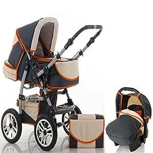 """15 teiliges Qualitäts-Kinderwagenset 3 in 1 """"FLASH"""": Kinderwagen + Buggy + Autokindersitz – all inklusive Paket in Farbe ANTHRAZITE-CREME-ORANGE"""