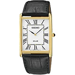 Seiko Men's Quartz Watch with Black Dial Analogue Display and Gold Leather SUP880P1