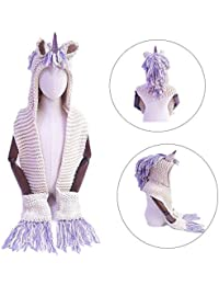 Girls Hoodie Unicorn Hat Scarf, SevenPanda Unicorn Tassel Wool Winter Knitted Shawl Hats Cap Hooded Cloak Caps Beanies Party Cosplay Christmas Gifts for 3-12 Years Old Children Girls - Purple Unicorn