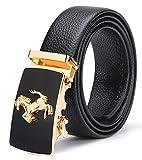 Cintura da uomo in Pelle con Fibbia Automatica e Sistema a Scorrimento, Larghezza:3,5cm