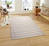 One Couture Handgewebt Baumwolle 100% Wollteppich Linien Grau Elfenbein Streifen Design, Größe:120cm x 170cm