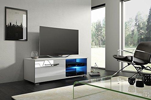 Tv Schrank MOON 2 Tv Lowboard Unterschrank Hochglanz !!! Mit LED !!! (weiß matt / weiß halbglanz)