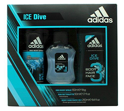adidas Ice Dive Geschenkset 50ml EDT + 150ml Duschgel + 150ml Deodorant Spray
