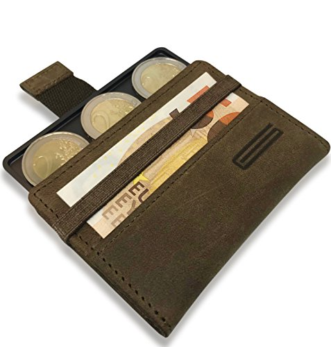 GOUTALLIER ® Premium Leder slim wallet mit Münzfach und RFID Schutz - Handgefertiges kleines vintage Portemonnaie - Minimalisten Geldbörse/Kreditkartenetui (Leder Falten Brieftasche Braun)