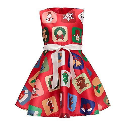 cinnamou Weihnachts Baby Karikatur Druck Prinzessin Dress, Mädchen Ärmellos Druck Prinzessin Festzug Kleider Abschlussball Ballkleid