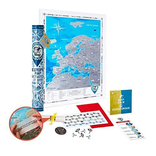 Europakarte zum Rubbeln Große Detaillierte - Rubbelkarte Europa Poster 68x48cm Delux Silber - Premium Landkarte Freirubbeln - Scratch off Europe Travel Map Geschenk für Reisende - Discovery Map
