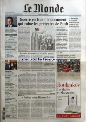 MONDE (LE) [No 18474] du 18/06/2004 - EXECUTIVE LIFE - FRANCOIS MARLAND, L'HOMME QUI A INFORME LES AMERICAINS, SORT DE L'OMBRE - ASSURANCE-MALADIE - LES COULISSES DE LA REFORME - SCIENCES HUMAINES - MENACES SUR LES UNITES DE RECHERCHE - PRISONS - LES ELUS VISITENT LES ETABLISSEMENTS PENITENTIAIRES - DISPARITION - JACEK KURON, FIGURE DE LA DISSIDENCE EN POLOGNE - RELIGION - LES MAIRES ET LES MOSQUEES - ENQUETE - VAINCRE L'ALCOOL, REPORTAGE A L'HOPITAL DE SAINT-CLOUD - DROIT A L'IMA