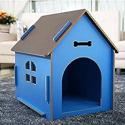 YIXIN Gatos y Perros Habitación Pet / Casa Madera Calidad Four Seasons Disponible Azul 3 Tamaño Se puede seleccionar ( Tamaño : XL )