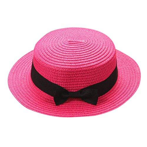 ZARLLE Sombrero De Paja Ala Ancha Paja Bowknot Transpirable Sombrero Sombreros Para El Sol Del Verano Retro Viajes Sombrero Gorra Visera De Sol Playa De NatacióN (Rosa caliente, talla única)