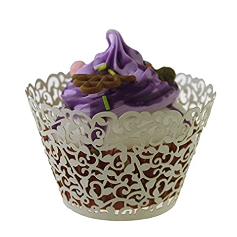 YUYIKES 100 Filigree Artistic Bake Cake Paper Cups Little Vine Lace Laser Cut Liner Cupcake Wrappers Baking Cup Muffin Holder Case for Wedding Birthday Party Decoration (CREAM)
