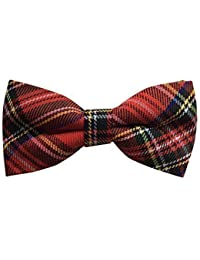 Mens Traditional plaid wool Scottish Red Tartan Luxury adjustable Bow Tie