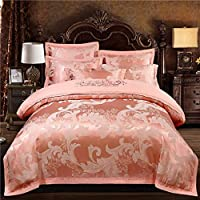 Satin Jacquard Cover Set - 100% Skin-Friendly Hypoallergenic - Soft Breathable And Easy Care - Bedding Set Of Four - Teen Girls (Color : F, Size : 1.5m)