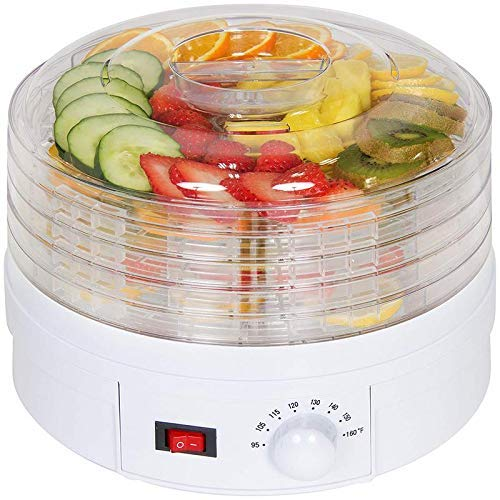 OMANZA Plastic Countertop Portable Electric Food Fruit Dehydrator Machine with 5 Tray Adjustable Thermostat, 11 x 11 x 7.5-Inch(White)