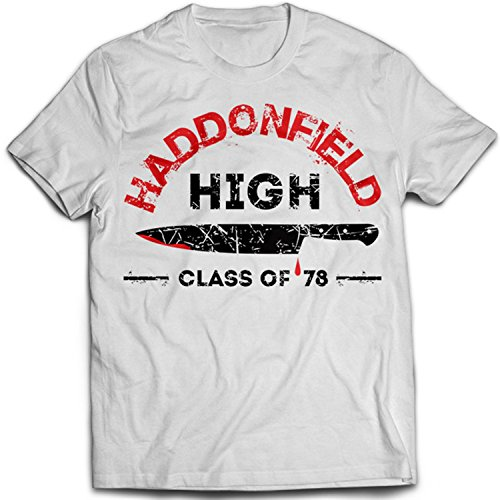 9227w Haddonfield High School Herren T-Shirt Halloween Friday The 13th John Carpenter Michael Myers 70s(Small,White)