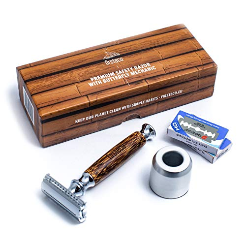 Firsteco® Premium Rasierhobel Set - innovative Butterfly-Mechanik + Ständer + 20 Rasier-Klingen + EBOOK Bambus-Griff handgefertigt Nassrasierer Damen Herren Bart-Hobel Safety-Razor geschlossener Kamm