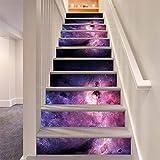 LLL LT020 100 * 18cm*6pcs Multicolor Milchstraße Treppenhaus Aufkleber DIY Selbstklebend Wasserdicht Bunt Wandgemälde