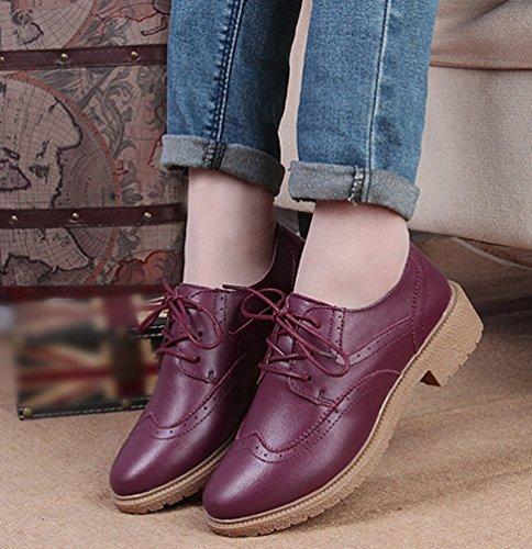Zapatos De Cuero De Cuero De La Pu De Punta Angosta De Yiiquan Brogue Zapatos De Cuero De La Pu En Punta De La Escuela Zapatos De Oficina De Trabajo Casual Elegante Con Cordones Planos De Color Rojo Marrón