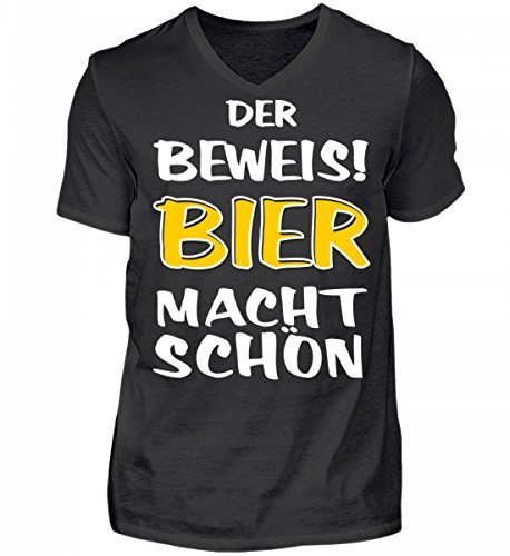 Shirtee Hochwertiges Herren V-Neck Shirt - der Beweis Bier Macht Schön - Das Lustige Geschenk für Bier-Fans - Original Tees-Paradise® Schwarz