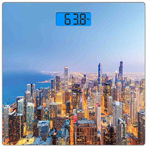Präzisions-Digital-Körpergewichtswaage Chicago Skyline Ultra Slim Gehärtetes Glas Personenwaage Genaue Gewichtsmessungen, Luftaufnahme der Stadt mit Michigan Lake Lebendiges Stadtpanorama Abendzeit, M