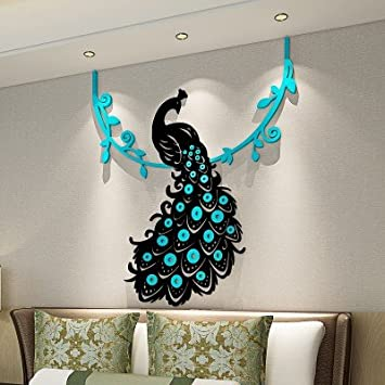Buy Peacock Crystal Acrylic Wall Sticker 3d Three Dimensional Living Room  Bedroom Home Decoration (Medium, Yellow) Online At Low Prices In India    Amazon.in