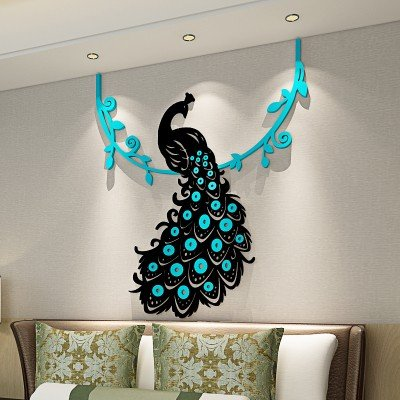 Buy Peacock Crystal Acrylic Wall Sticker 3d Three Dimensional Living Room Bedroom Home Decoration Medium Light Blue Online At Low Prices In India
