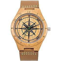 Reloj de Madera Cuero, MUJUZE Relojes de Brújula de Bambú Hecho a Mano Natural, Relojes de Pulsera de Hombres con Correa de Vaca Marrón,Embalado en Caja de Regalo (Bamboo Compass)