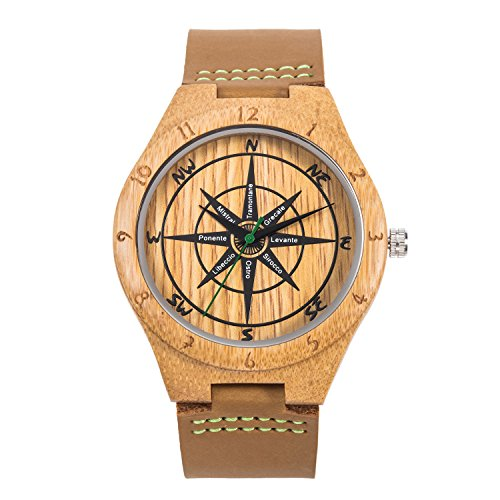 Relojes Cuero de Madera, MUJUZE Reloj de brújula de bambú Hecho a Mano Natural, Relojes de Pulsera de Hombre con Correa de Vaca marrón (Brújula de bambú)
