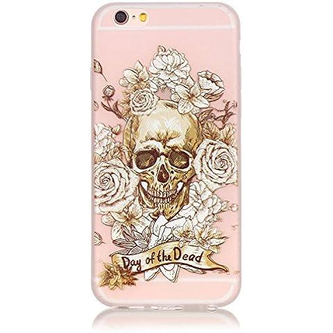 Cuitan Alta Calidad suave de TPU Noctilucent Funda para Apple iPhone 6 Plus / 6S Plus 5.5 pulgadas, Rose del cráneo Patrón Back Cover Brillan en la oscuridad Diseño Moda delgado Protectora Caso Cubierta Case Protección Carcasa - Rose del
