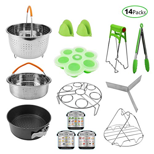 14-Piece Instant Pot Set, Fits 5,6,8Qt Pressure Cooker mit Steamer Basket/Egg Steamer Rack/Bete Molds/Non-stick Springform Pan/Dish Clip/Sticker Non-stick-rack