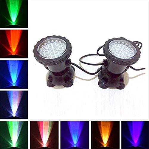 Louvra 36 LED Unterwasser Spot-Licht RGB Aquarium Strahler Unterwasserbeleuchtung IP68 Wasserdicht für Garten Landschaft Park Rockery Pool Teich Korridor Fisch Tank Aquarium Dekoration (Set /2 Lich