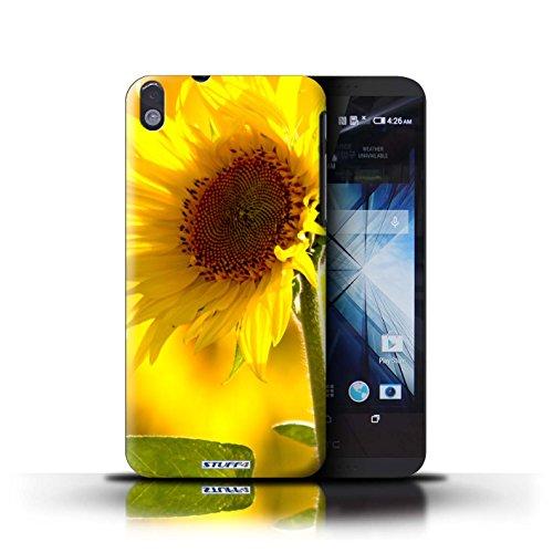 Kobalt® Imprimé Etui / Coque pour HTC Desire 816 / Doux Rose conception / Série floral Fleurs Fleur jaune