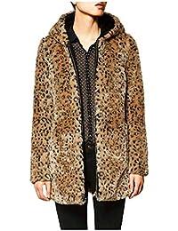 DOGZI Abrigo Mujer Invierno,Leopardo Suéter con Capucha Abrigo de Cuello de Piel Piel sintética