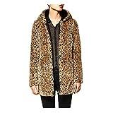 DOGZI Abrigo Mujer Invierno,Leopardo Suéter con Capucha Abrigo de Cuello de Piel Piel...