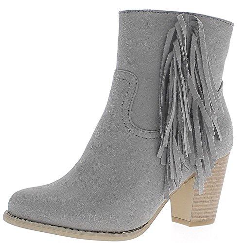 Graue Stiefel mit Fransen Dicke 7cm Wildleder look Ferse ausgekleidet - 40 (Wildleder-stiefeletten Graue)