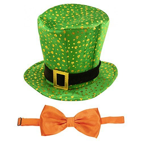 St Patricks Tag Neuheit Kostüm Kobold Kleeblatt Muster Hut & Fliege