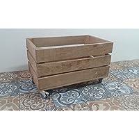 rebajas ofertas caja cajón de madera fruta pino envejecida con ruedas 50x30x32 rueda tipo industrias muy resistentes, ideal para almacenaje,guardar juguetes o como elemento decorativo