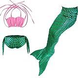 Le SSara Ragazze mare-domestica Swimwear Mermaid Shell costume da bagno 3pcs insiemi del bikini (150, Drosa+verde)