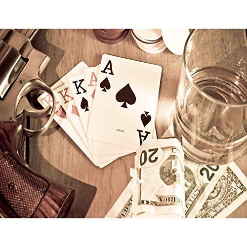 Fototapete Poker 396 x 280 cm Vlies Wand Tapete Wohnzimmer Schlafzimmer Büro Flur Dekoration Wandbilder XXL Moderne Wanddeko - 100% MADE IN GERMANY - Spielkarten Geld Whisky- Runa Tapeten 9061012a (Spielkarten Waffen)