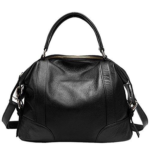 Mena UK Damen Designer Leder Handtaschen und Geldbörsen Reißverschluss Schulter Satchel Handtasche Große Tasche Schwarz