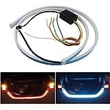 FEZZ Tiras de LED Auto para Luz de frenado Pon la luz de cruce Caja de maletero DRL luz de la cola Impermeable Rojo y Azul 90cm