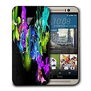 Snoogg Abstract Multicolor Flowers Printed Protective Phone Back Case Cover For HTC One M9