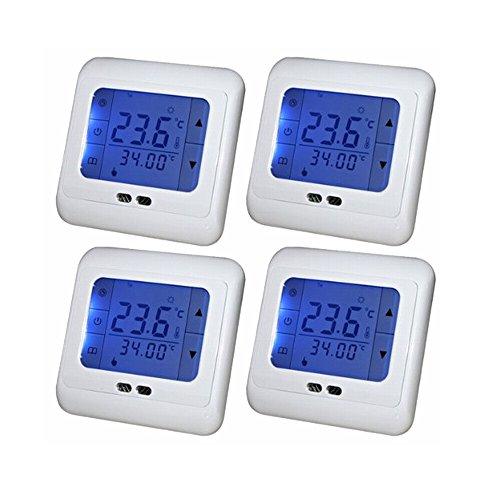 SAILUN 4 Stück/Set Digital Thermostat Programmierung Raumthermostat Heizungs Raum Temperatur Regler mit LCD TouchScreen Blau Für Wade, Fußbodenheizung, Die Heizung Wand, Elektrische Usw (4 Stück / Set) (Vier Stück Wand-einheit)