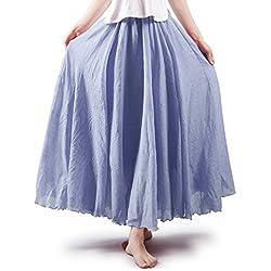 OCHENTA Mujeres Estilo Bohemia Cintura Elástico Algodón Larga Lino Faldas Ink Blue 105
