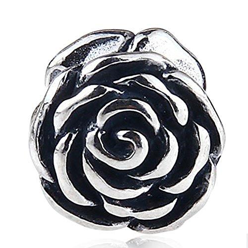 Rose charm in argento sterling 925love charm ciondolo a forma di fiore anniversary charm per braccialetti pandora a