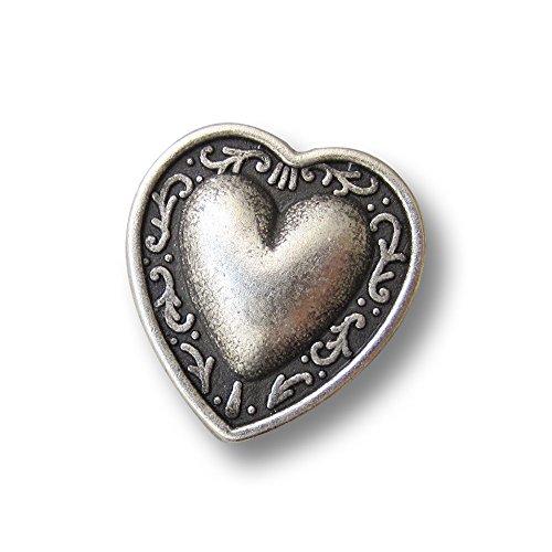 (0273as) - 8er Set Metallknöpfe / Trachtenknöpfe: Kleines Herz. Verspieltes Motiv, perfekt für Dirndl und Tracht / Oktoberfest, hochwertig verarbeitet. Größe: ca. 11x12mm