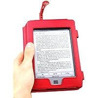 """DURAGADGET Funda Roja De Cuero En Estilo De Libro Para El Nuevo Kindle Touch, Wi-Fi,6"""" De Amazon (Última Generación, Marzo 2012) + Luz LED De Lectura Clip On Roja"""