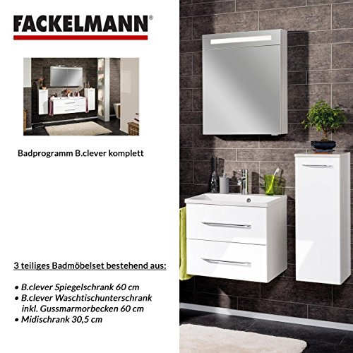 Fackelmann Badmöbel Set B.Clever 3-tlg. 100 cm weiß mit Waschtischunterschrank inkl. Gussmarmorbecken & Midischrank & LED Spiegelschrank