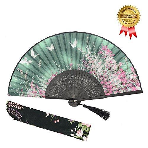 """With a Fabric SleeveOMyTea """"Sakura"""" japanischer bzw. Chinesischer Handfächer mit Seide und Bambusrahmen und einer Stoffhülle zum Schutz des Fächer selbst, Textil, WZS-2"""